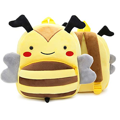 DLSEEGO Cute Toddler Backpack,Cartoon Cute Animal Plush Backpack Toddler Mini School Bag for Kids Age 2-5 Years Old(Bee)