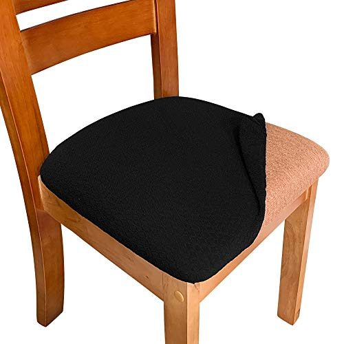 Melaluxe 4 Pack Stretch Dining Room Chair Seat Covers, Removable Washable Jacquard Anti-Dust Upholstered Kitchen Chair Seat Cushion Slipcovers (Black)