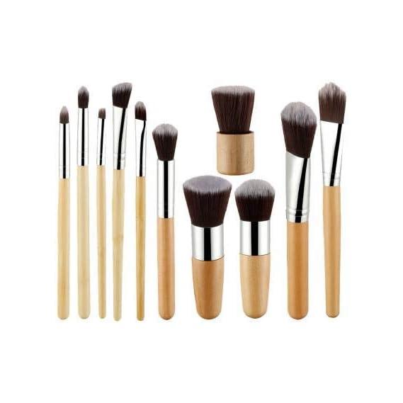 Foolzy 11Pcs Makeup Brush Set Professional Kabuki Foundation Blending Blush Concealer Eye Face Liquid Powder Cream