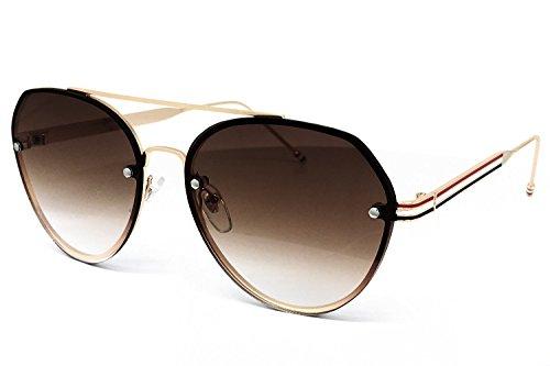 O2 Eyewear 537 Premium Rimless Metal Frame Revo Mirrored Retro fashion Aviator Women Men Vintage Sunglasses (Rimless Metal, - Between Difference Polarized Lenses