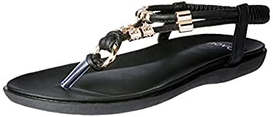 Novo Women's T-Bar Strappy Sandals, Tana, Black, 41 EU