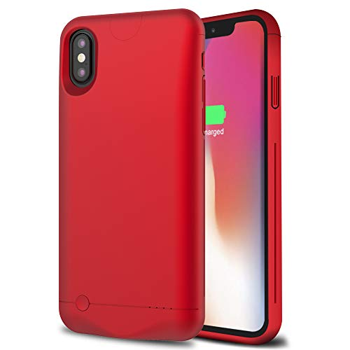Battery Case for iPhone X/Xs/10, LCLEBM 5200mAh Ultra Slim Portable Protective Charging Case Compatible with iPhone X/Xs/10 (5.8 inch) Rechargeable Extended Battery Charger Case-Red