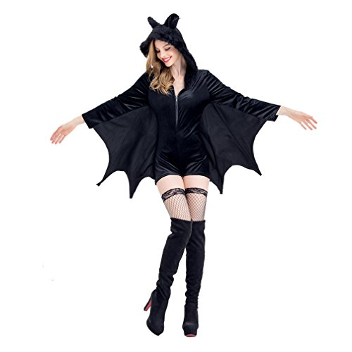 [Women Vampire Uniforms Batman Cosplay Masquerade Costume Cloak Coat Halloween Devil Game Cosplay Stage Costume (2XL)] (Female Vampire Makeup)