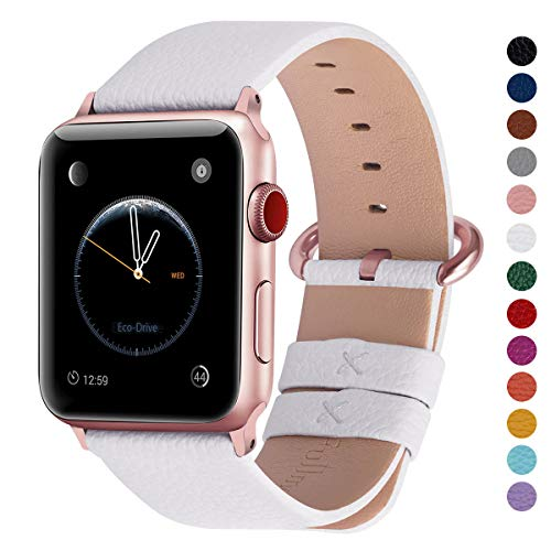 Fullmosa Compatible Apple Watch Band 38mm 40mm 42mm 44mm, Genuine Leather Band Compatible Apple Watch Series 4, Series 3, Series 2, Series 1, 38mm 40mm White + Rose Gold Buckle ()