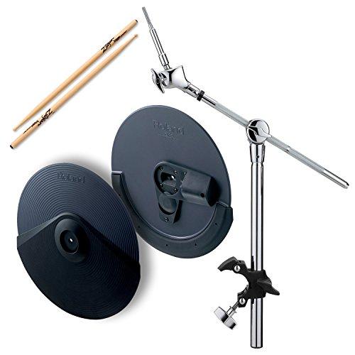 Roland CY-8 Dual-Trigger Cymbal Pad w/ MDY-12 Hatched Mount & Zildjian Trigger Wood Anti-Vibe Drumsticks - - Crash Cymbals Roland