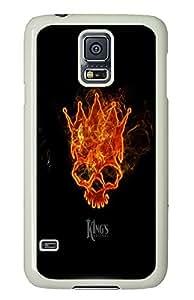 Samsung S5 case sparkle Fire Skull PC White Custom Samsung Galaxy S5 Case Cover
