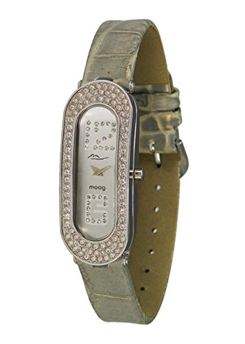 Moog Paris Discrete Women's Watch with Silver Dial, Light Gray Genuine Leather Strap & Swarovski Elements - M44042F-002