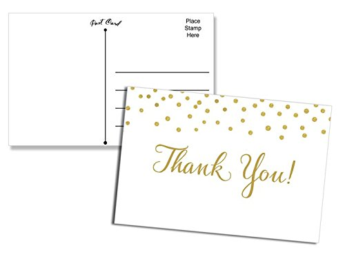 50 Thank You Postcards Gold Confetti