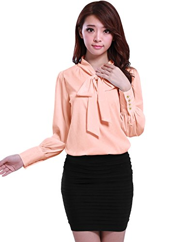 allegra-k-women-tie-bow-neck-puff-sleeve-buttoned-cuff-semi-sheer-chiffon-shirt