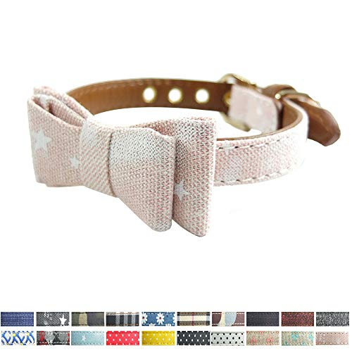 (Dog Collar Bow Tie, Cat Bowtie Collar Flower/Star/Striped Patterns Sturdy Bow Tie Kitten Collar Soft Leather 20 Colors 3 Sizes (M 12.5