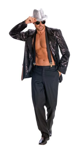 [Rubie's Costume Deluxe Men's Black Sequin Jacket, Black, Large Costume] (80s Costumes For Family)