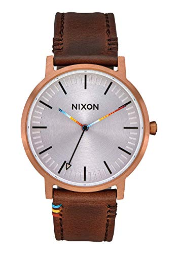 NIXON Porter Leather A1058 - Copper/Brown/Serape - 50m Water Resistant Men's Analog Classic Watch (40mm Watch Face, 20-18mm Leather Band)