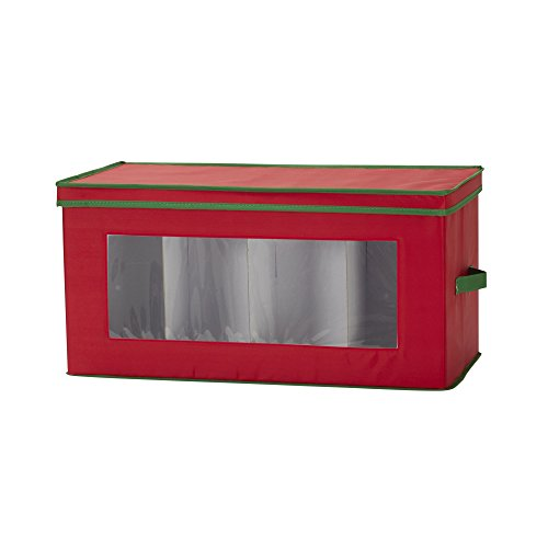 Household Essentials 554RED Holiday Vision Storage Box Chest | Store Up to 8 Xmas Figurines | Red Bin with Green Trim