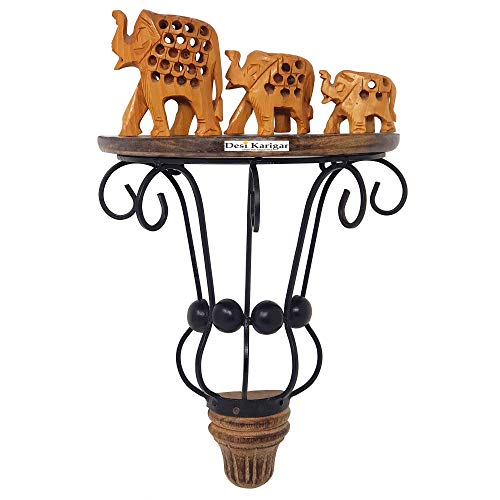 Desi Karigar Wooden Carved Decorative Corner/Wall Hanging/Bracket Shelf