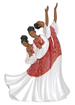 African American Praise Dancer Giving Praise in Red