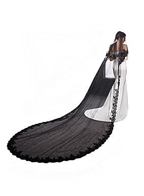 Cibelle Black Wedding Veil 2 Layers 3 Meters Long Lace Bridal Veil with Metal Comb