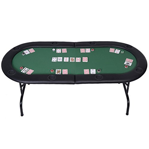 (Mascarello® Foldable 8 Player Poker Table Casino Texas Holdem Folding Poker Play Table)