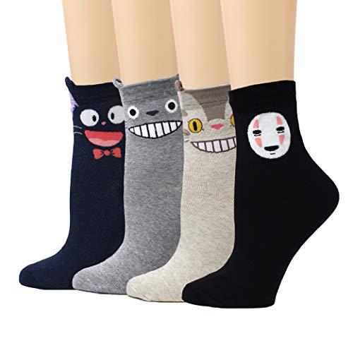 LIVEBEAR Women's 4/5 Pairs Cute Funny Animal Novelty Casual Cotton Crew Socks (Made In Korea) (Mascot)