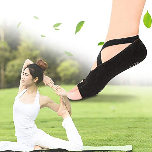 Women Sports Yoga Dancing Ballet Socks Breathable Anti-Slip Cotton Silicone Open Toe Bandage Socks Bellydance Costume