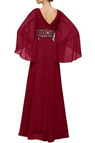 Chiffon Abendkleider Ausschnitt Steine Weinrot Linie Damen Promkleid Festkleid Modern A Ivydressing Mit V Lang Aermel tYOqwvw
