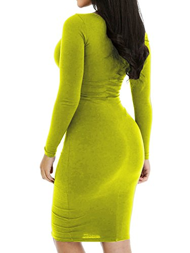 Party Short Long Sexy Dress Haola Dress Grassgreen Slim Women's Casual Sleeve Mini Club CqUxFwZ