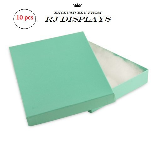 10 Pack Robin's Egg Blue Teal Cotton Filled Jewelry Boxes for Necklace, Bracelet, Anklet 5.25'' x 3.75'' x 1''