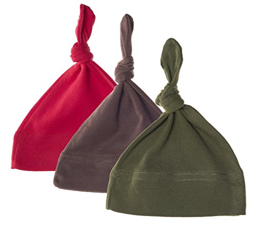 Mato & Hash Unisex Baby 100% Cotton Adjustable Knot Hat - 3PK Red/Brown/Olive CA55