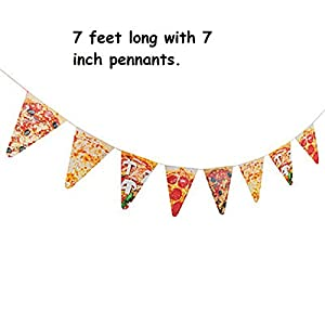 1 ~ Pizza Photo Pennant Banner ~ 7 feet long with 7 inch pennants ~  by FX/OT
