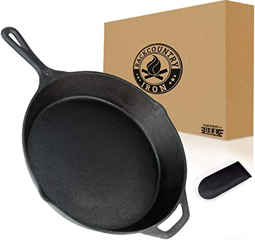 Backcountry Cast Iron Skillet(12 Inch Large Frying Pan + Cloth Handle Mitt, Pre-Seasoned for Non-Stick Like Surface, Cookware Oven / Broiler / Grill Safe, Kitchen Deep Fryer, Restaurant Chef Quality)