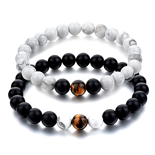 Hot And Bold Brown Certified Natural Stones Multi Strand Reiki/Yoga Distance Unisex Bracelet - (Howlite and Tiger Eye)