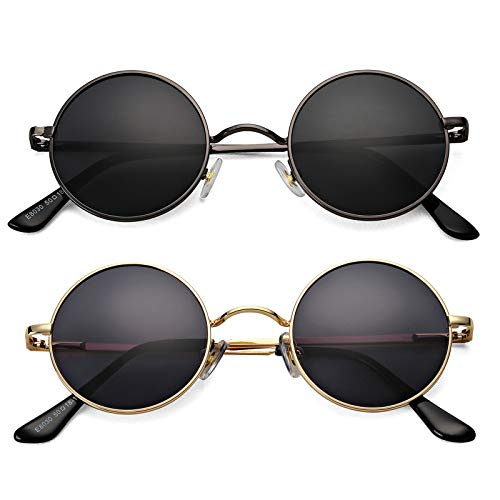 Braylenz 2 Pack Trendy Small Round Polarized Sunglasses for Women Men, Retro John Lennon Hippie Style Shades Glasses (Gunmeta