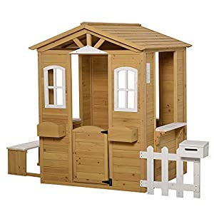 Outsunny Wooden Playhouse with Flower Pot Holder