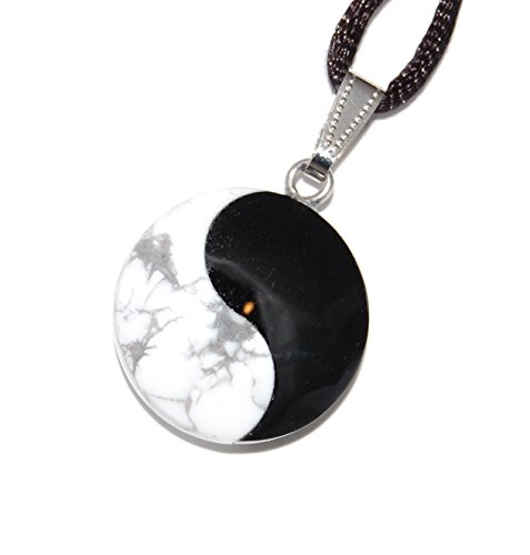 Power Pack Series - Yin Yang Martial Arts Round Pendant Howlite & Onyx 25mm Black White Gray - 20-22 Inch Adjustable Black Cord - Crystal Gemstone Collectibles Carved Necklace Handmade Charm
