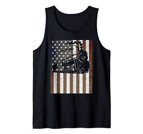 Train American Flag Vintage Retro Model Train Builder Gift Tank Top ()