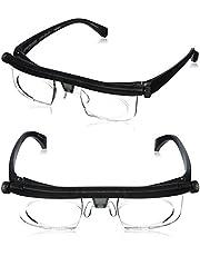 Dial Vision Justerbara linser glasögon – 6D + 3D fritt ögonkort och mjuka glasögonetui. Anpassa dialerna. För män och kvinnor