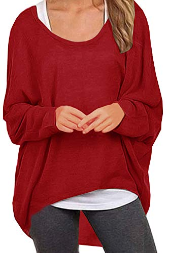 (UGET Women's Sweater Casual Oversized Baggy Off-Shoulder Shirts Batwing Sleeve Pullover Shirts Tops Asia M Red)