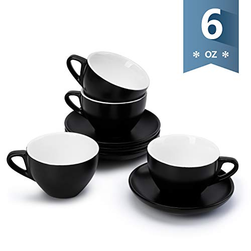 Sweese 403.114 Cappuccino Cup and Saucer Set, 6 Ounce Perfect for Specialty Coffee Drinks, Latte, Cafe Mocha and Tea, Matte Black