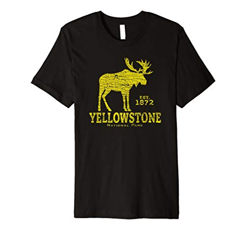 - Yellowstone National Park US Adventure Moose Vintage Design Premium T-Shirt