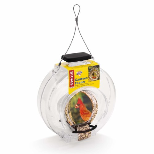 Stokes Select Clear Plastic Canteen-Style Bird Feeder with Two Perches, 5 Pound Seed Capacity (Feeder Circular Bird)