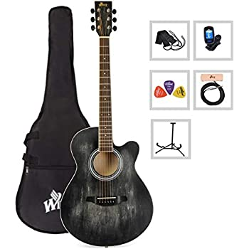 9862a81d Acoustic Guitar WINZZ 40 Inches Cutaway Guitar Beginner Starter Bundle with  Padded Bag, Stand, Tuner, Pickup, Strap, Picks