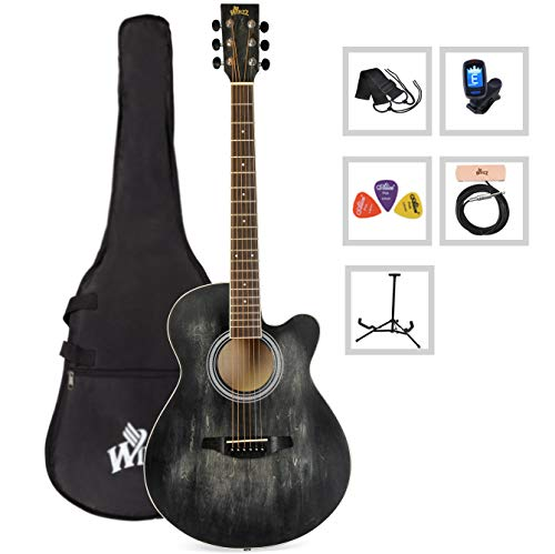 Acoustic Guitar WINZZ 40 Inches Cutaway Guitar Beginner Starter Bundle with Padded Bag, Stand, Tuner, Pickup, Strap, Picks (Best Starter Acoustic Electric Guitar)