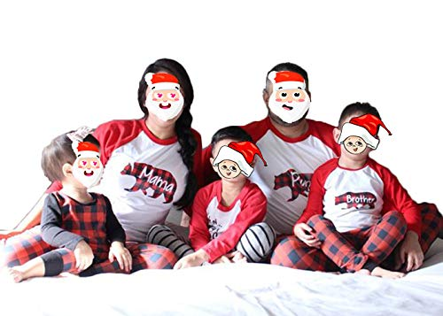 (Papa Mama Little Kids Baby Bear Christmas Family Matching Pajamas Sets,Buffalo Plaid Xmas Pajama Set (S, Mama))