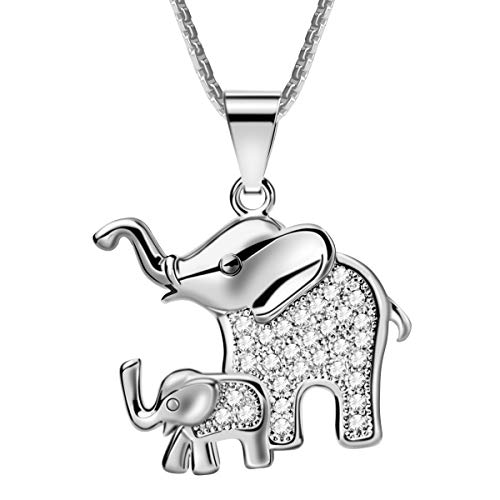 CCBFY Mom and Baby Elephant Pendant Necklace Platinum Plated Zircon for Woman Girl ()