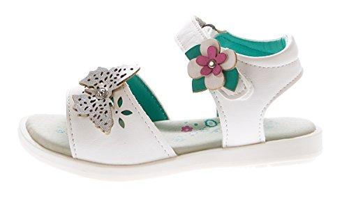 Mädchen Sandalette Fesselriemen Kinder Schuhe Klettverschluss Sandalen Gr. 25-30 Weiß