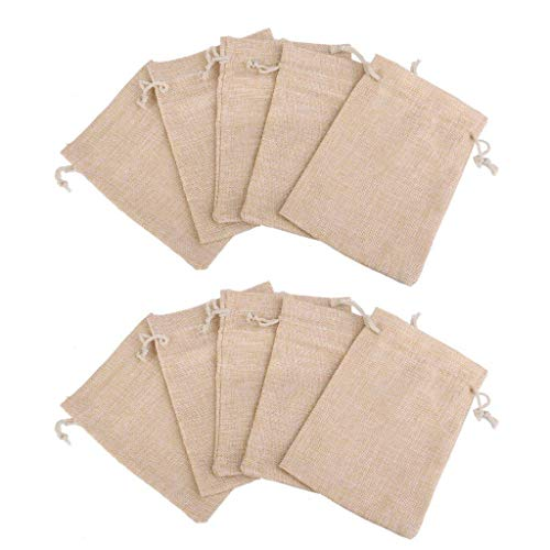 (Potelin Retro Baking Process Small Bag Linen Bag Cloth Bags Craft Gift Bags Wedding Party Favor Bags Jewelry Pouches Wrap Candy Gift Bag Halloween White 10)