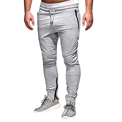 Tapered Joggers for Men, Mitiy Gym Training Running Workout Trousers Pants, Slim Fit Casual Sweatpants Gray (Wicker Cedar White Chest)