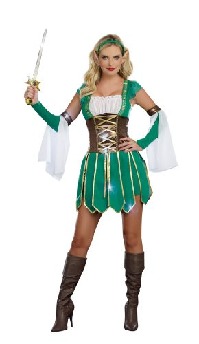 [Dreamgirl Warrior Elf, Green, Medium] (Womens Elf Warrior Costume)