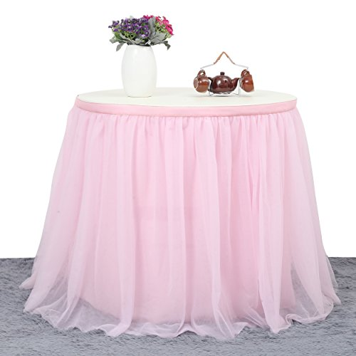 Suppromo 3 Yards High-end Gold Brim 3 Layer Mesh Fluffy Tutu Table Skirt Tulle Tableware Table Cloth For Party,Wedding,Birthday Party&Home Decoration,Table Skirting (L9(ft) H 30in, Pink) by Suppromo (Image #2)