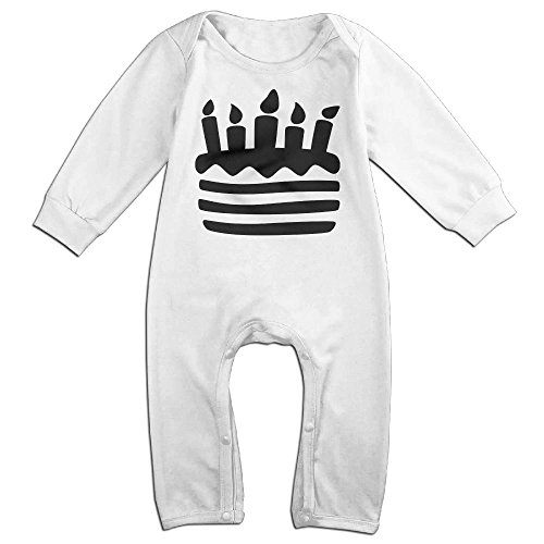 Tongbu Birthday Cake Baby's Bodysuit Climb Clothes Boy & Girl Soft Cotton Long Sleeve Romper Jumpsuit 12 MonthsWhite (Halloween Cake Pinterest)