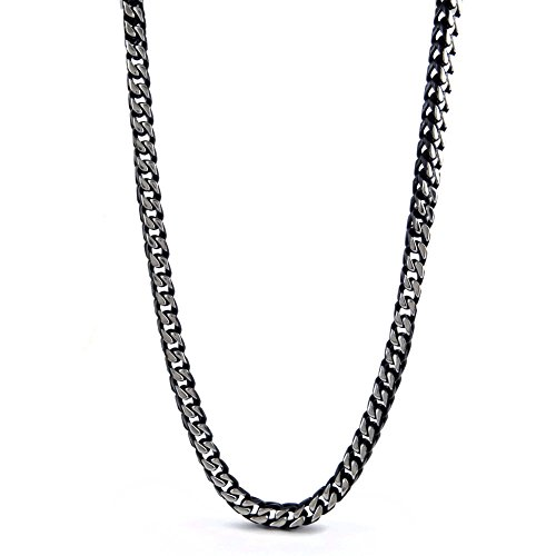 Yeidid International Men's Stainless Steel Foxtail Chain Necklace Black and White Color ()